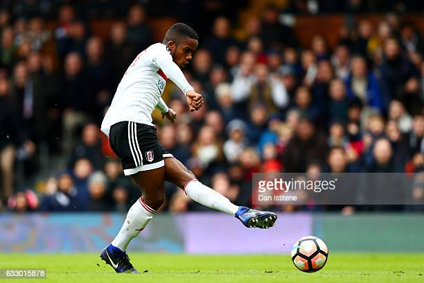 Ryan Sessegnon of Fulham shoots at goal during the Emirates FA Cup Fourth Round match between Fulham and Hull City at Craven Cottage on January 29...