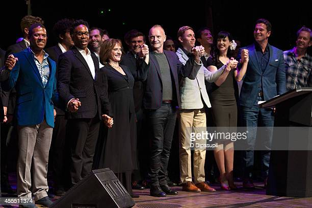 Ryan Shaw Billy Porter Patti LuPone Sting Vladislav Slavskiy Lena Hall and Thomas Roberts take their curtain call during Uprising Of Love A Benefit...