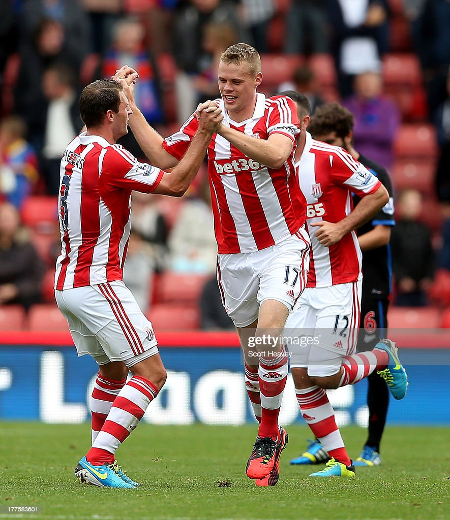 <a gi-track='captionPersonalityLinkClicked' href=/galleries/search?phrase=Ryan+Shawcross&family=editorial&specificpeople=4443278 ng-click='$event.stopPropagation()'>Ryan Shawcross</a> of Stoke celebrates after scoring their second goal during the Barclays Premier League match between Stoke City and Crystal Palace at Britannia Stadium on August 24, 2013 in Stoke on Trent, England.