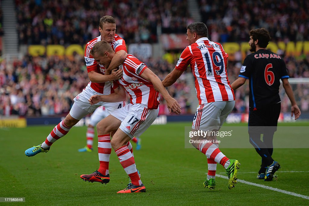 <a gi-track='captionPersonalityLinkClicked' href=/galleries/search?phrase=Ryan+Shawcross&family=editorial&specificpeople=4443278 ng-click='$event.stopPropagation()'>Ryan Shawcross</a> of Stoke celebrates scoring their second goal with <a gi-track='captionPersonalityLinkClicked' href=/galleries/search?phrase=Robert+Huth&family=editorial&specificpeople=206878 ng-click='$event.stopPropagation()'>Robert Huth</a> and <a gi-track='captionPersonalityLinkClicked' href=/galleries/search?phrase=Jonathan+Walters&family=editorial&specificpeople=3389578 ng-click='$event.stopPropagation()'>Jonathan Walters</a> during the Barclays Premier League match between Stoke City and Crystal Palace at Britannia Stadium on August 24, 2013 in Stoke on Trent, England.