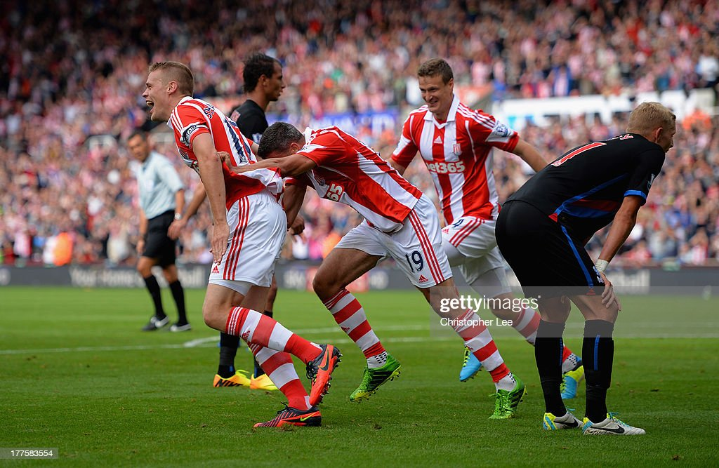 Ryan Shawcross of Stoke celebrates scoring thir second goal with Jonathan Walters during the Barclays Premier League match between Stoke City and Crystal Palace at Britannia Stadium on August 24, 2013 in Stoke on Trent, England.