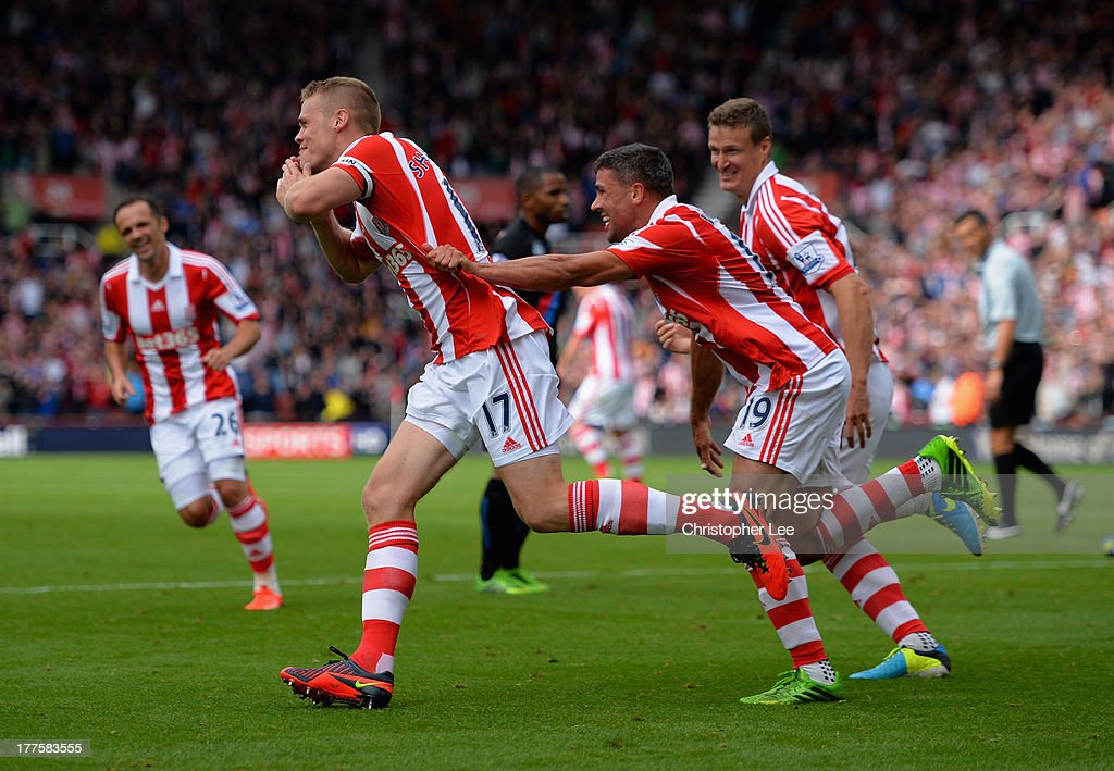 <a gi-track='captionPersonalityLinkClicked' href=/galleries/search?phrase=Ryan+Shawcross&family=editorial&specificpeople=4443278 ng-click='$event.stopPropagation()'>Ryan Shawcross</a> of Stoke celebrates scoring thir second goal with <a gi-track='captionPersonalityLinkClicked' href=/galleries/search?phrase=Jonathan+Walters&family=editorial&specificpeople=3389578 ng-click='$event.stopPropagation()'>Jonathan Walters</a> during the Barclays Premier League match between Stoke City and Crystal Palace at Britannia Stadium on August 24, 2013 in Stoke on Trent, England.