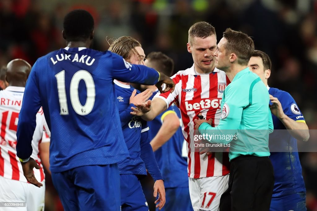 Ryan Shawcross of Stoke City appeals to referee Craig Pawson following the award of a goal during the Premier League match between Stoke City and Everton at the Bet365 Stadium on February 1, 2017 in Stoke-on-Trent, England.