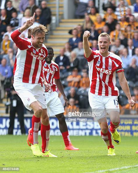 Ryan Shawcross of Stoke City celebrates with team mate Peter Crouch after scoring the equalising goal during the Barclays Premier League match...
