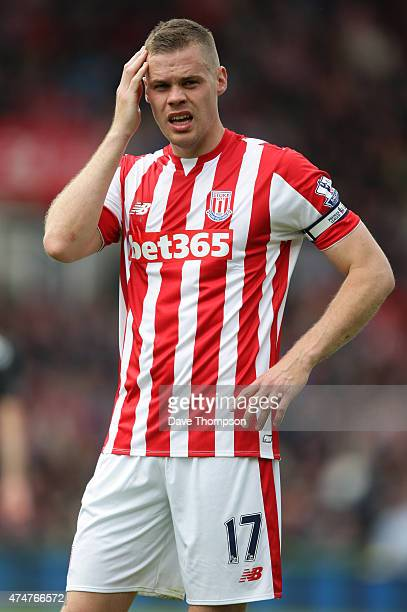 Ryan Shawcross of Stoke City during the Barclays Premier League match between Stoke City and Liverpool at the Britannia Stadium on May 24 2015 in...