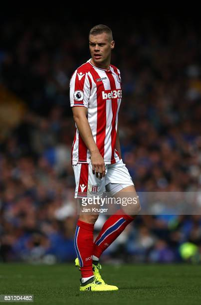 Ryan Shawcross of Stoke City during the Premier League match between Everton and Stoke City at Goodison Park on August 12 2017 in Liverpool England