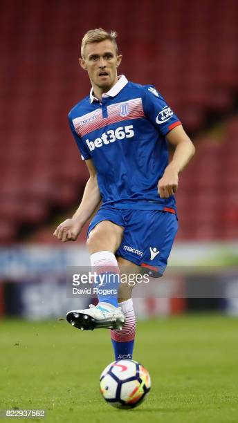 Ryan Shawcross of Stoke City passes the ball during the pre season friendly match between Sheffield United and Stoke City at Bramall Lane on July 25...