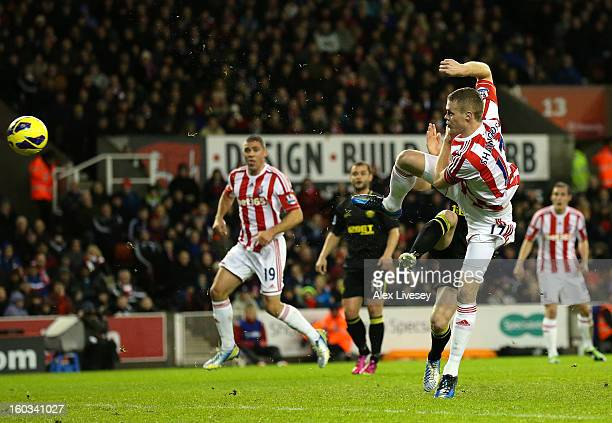 Ryan Shawcross of Stoke City scores the opening goal during the Barclays Premier League match between Stoke City and Wigan Athletic at the Britannia...