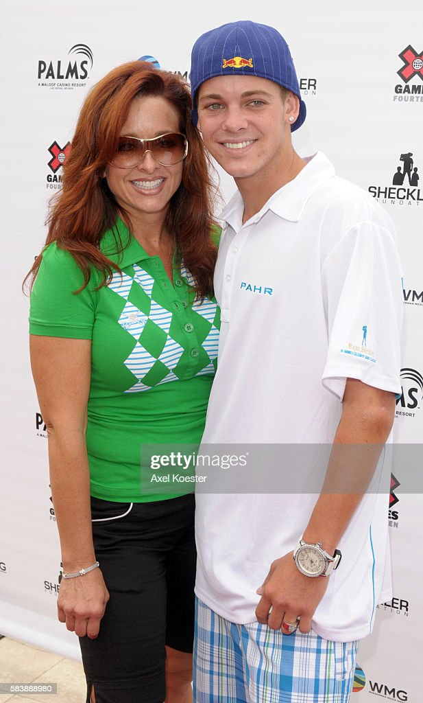 Ryan Shekler and his mom Gretchen Shekler arrive at the X Games Celebrity Skins Classic golf tournament for charity at Trump National Golf Club in...