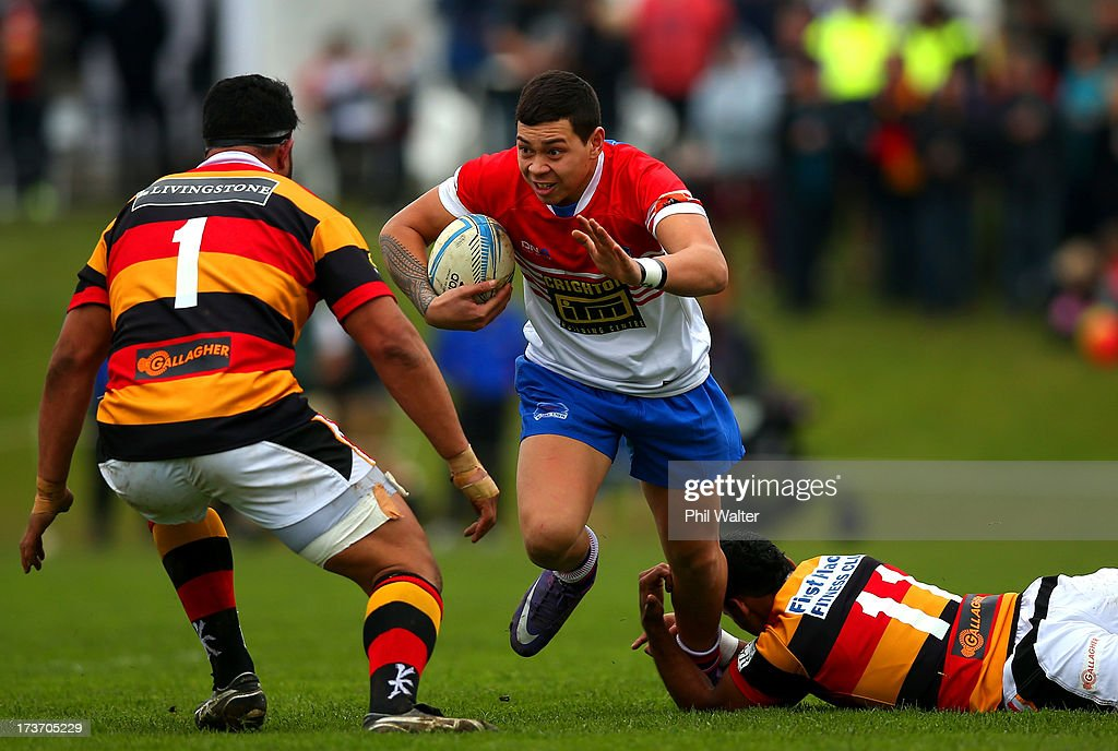 Ryan Shelford of Horowhenua-Kapiti is tackled during the Ranfurly Shield match between Waikato and Horowhenua-Kapiti at the Morrinsville Domain on July 17, 2013 in Morrinsville, New Zealand.