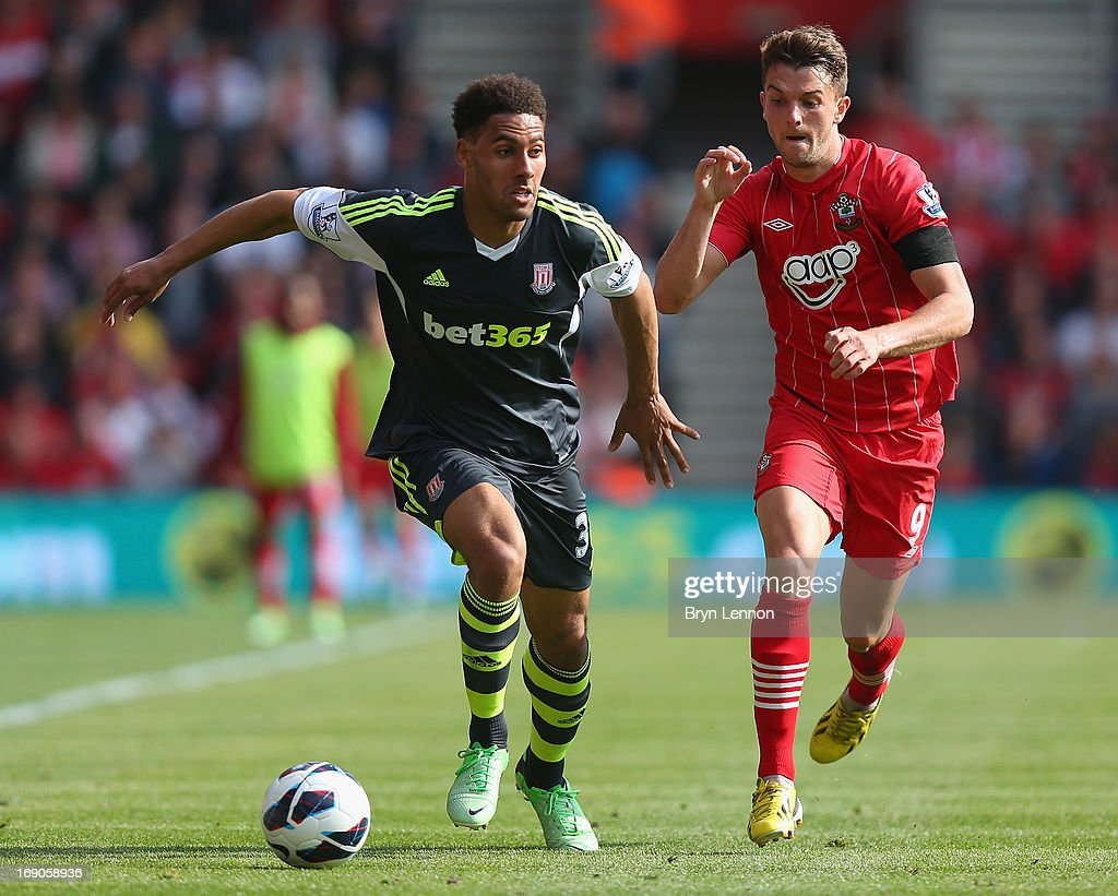 Ryan Shotton of Stoke City battles with Jay Rodriguez oif Southampton during the Barclays Premier League match between Southampton and Stoke City at St Mary's Stadium on May 19, 2013 in Southampton, England.