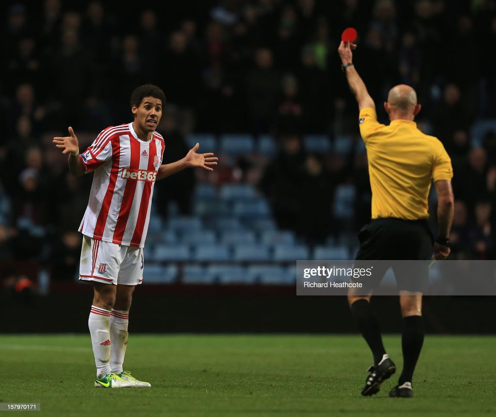 Ryan Shotton of Stoke is sent off by referee Roger East during the Barclays Premier League match between Aston Villa and Stoke City at Villa Park on December 8, 2012 in Birmingham, England.