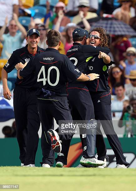 Ryan Sidebottom of England celebrates catching Herschelle Gibbsof South Africa during the ICC World Twenty20 Super Eight match between England and...