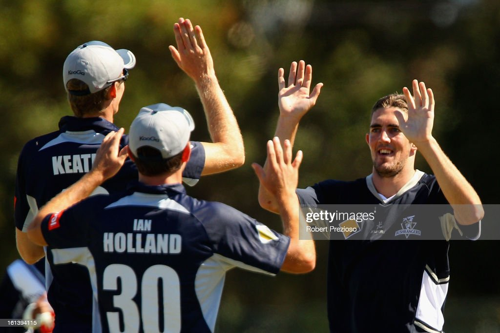 <a gi-track='captionPersonalityLinkClicked' href=/galleries/search?phrase=Ryan+Sidebottom&family=editorial&specificpeople=621602 ng-click='$event.stopPropagation()'>Ryan Sidebottom</a> of the Bushrangers celebrates the wicket of James Vince of the Lions during the International Tour match between the Victoria Bushrangers and England Lions at Junction Oval on February 11, 2013 in Melbourne, Australia.