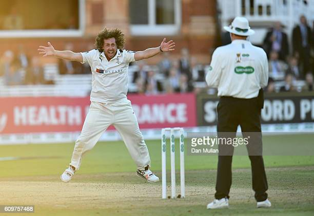 Ryan Sidebottom of Yorkshire appeals unsuccessfully for the wicket of Nick Gubbins of Middlesex during day three of the Specsavers County...