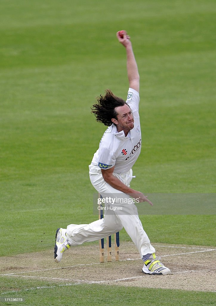 Ryan Sidebottom of Yorkshire bowls during day three of the LV County Championship Division One match between Yorkshire and Surrey at Headingley on June 23, 2013 in Leeds, England.