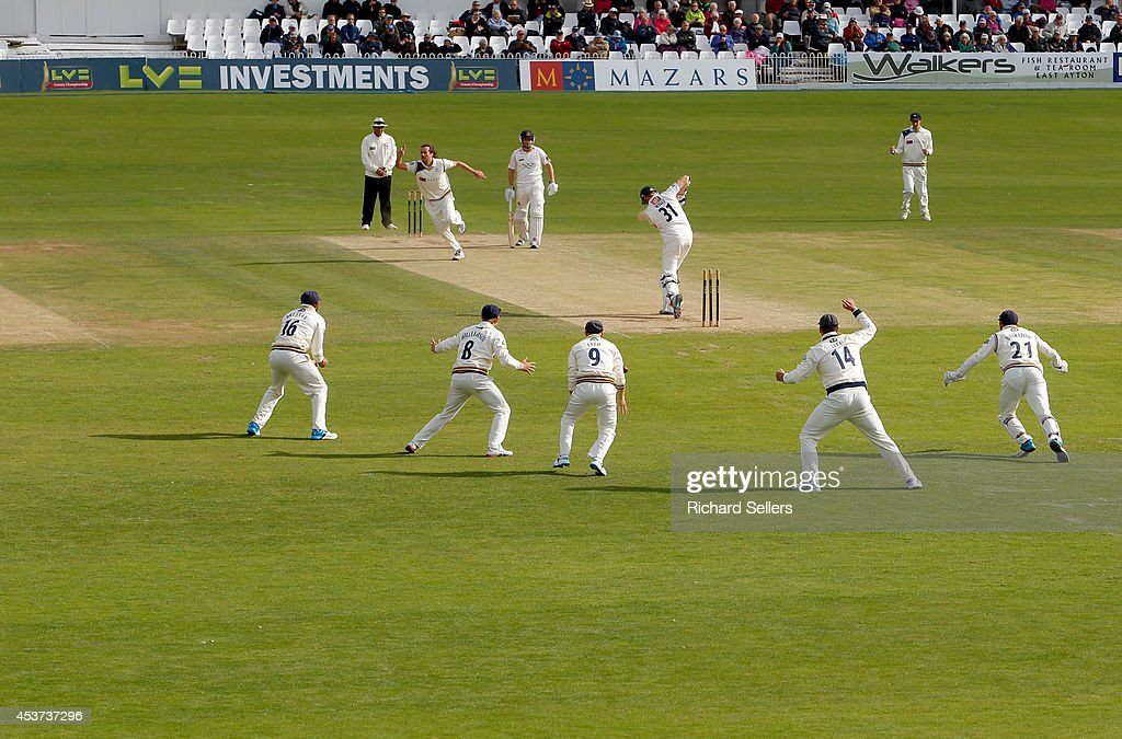Ryan Sidebottom of Yorkshire celebrates taking Sussex opening batsman Luke Wells in during day three of the LV County Championship division One match...