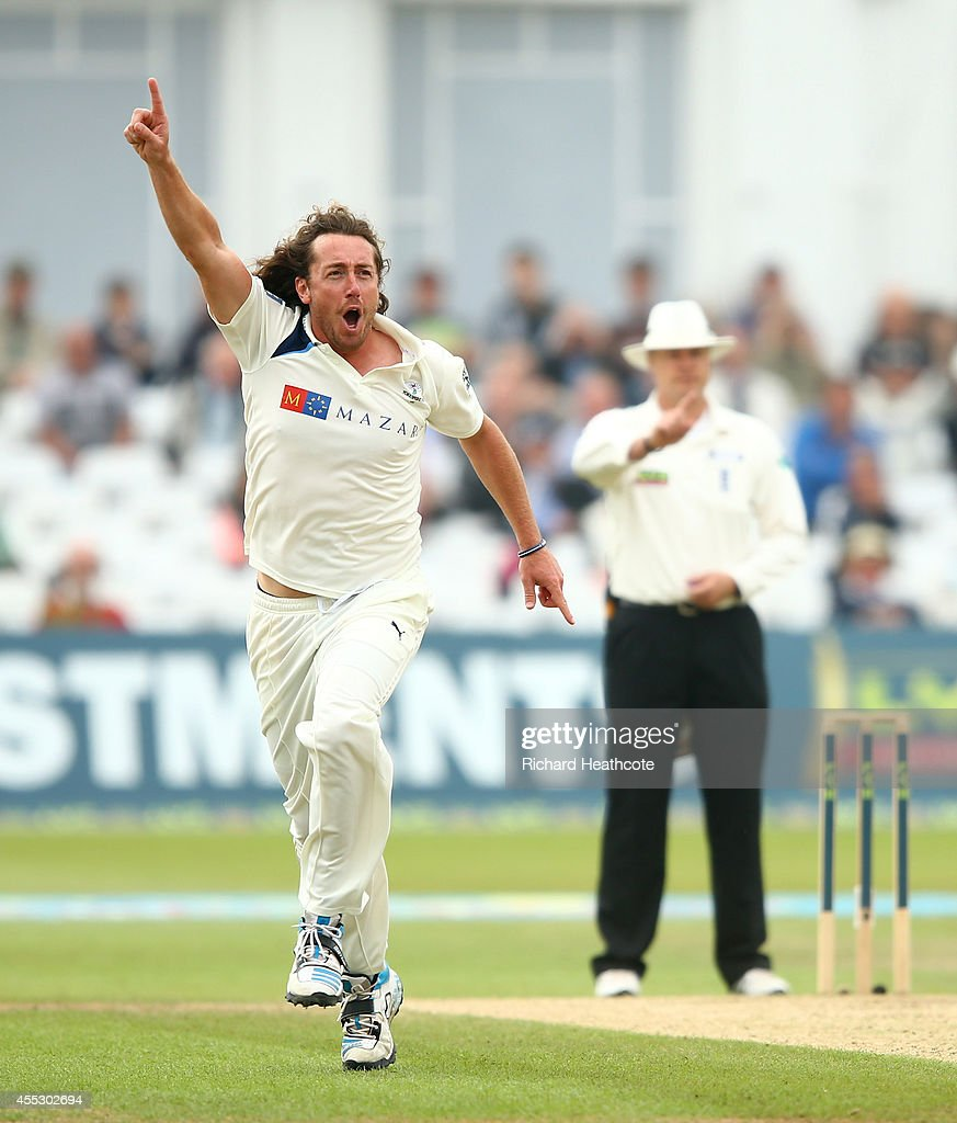 Ryan Sidebottom of Yorkshire celebrates taking the wicket of Chris Read of Notts during the fourth day of the LV County Championship match between...