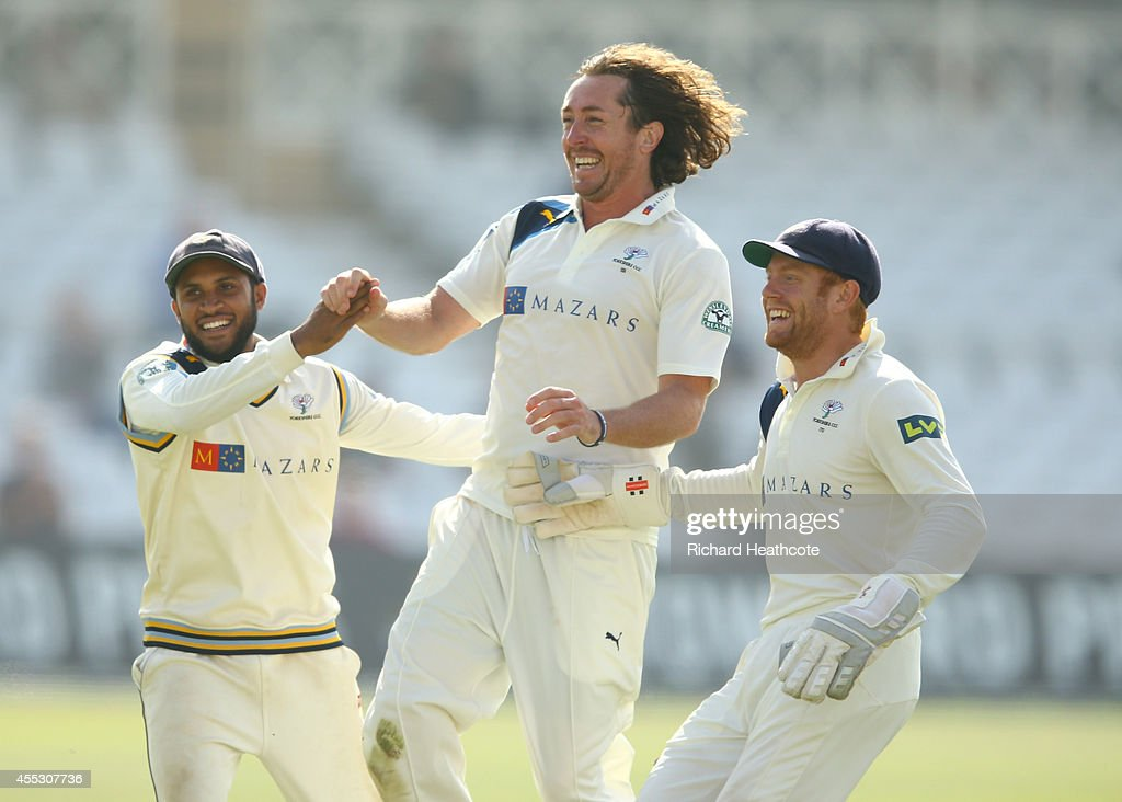 Ryan Sidebottom of Yorkshire celebrates taking the wicket of Luke Fletcher of Notts during the fourth day of the LV County Championship match between...