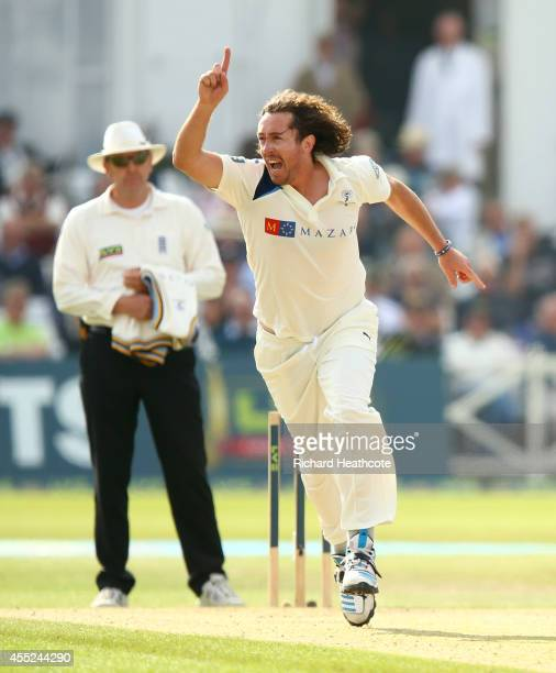 Ryan Sidebottom of Yorkshire celebrates taking the wicket of Riki Wessels of Notts during the third day of the LV County Championship match between...