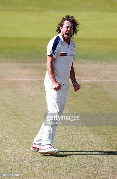 Ryan Sidebottom of Yorkshire celebrates the wicket of James Franklin during the LV County Championship between Middlesex and Yorkshire at Lord's...