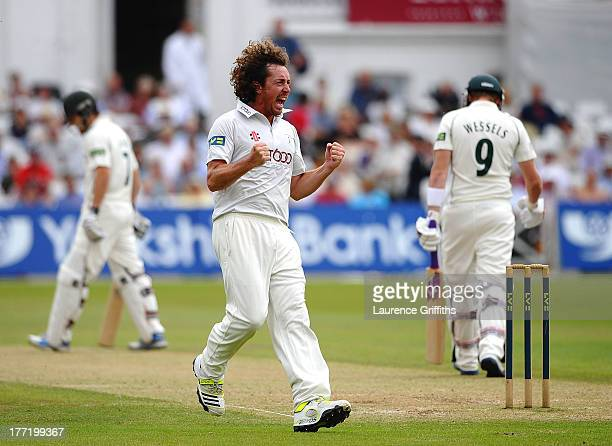 Ryan Sidebottom of Yorkshire celebrates the wicket of Riki Wessels of Nottinghamshire during day two of the LV County Championship division one match...