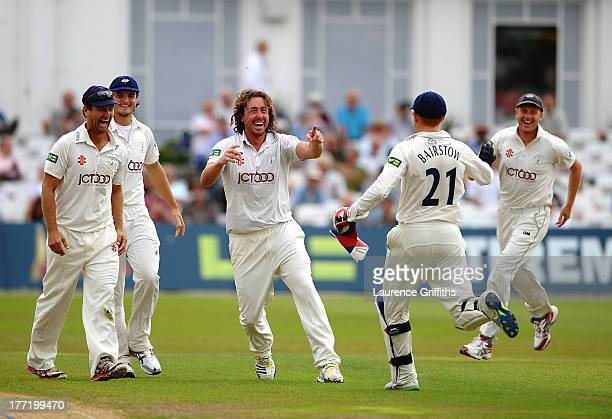 Ryan Sidebottom of Yorkshire celebrates the wicket of Samit Patel of Nottinghamshire during day two of the LV County Championship division one match...
