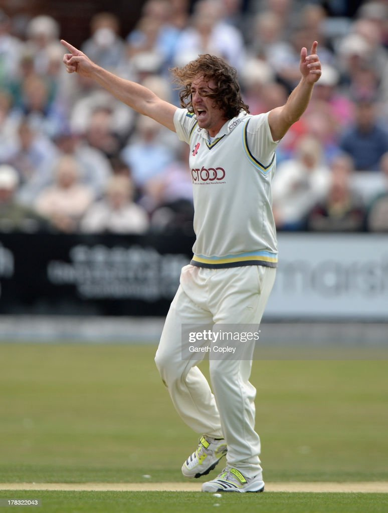 Ryan Sidebottom of Yorkshire successfully appeals for the wicket of Paul Collingwood of Durham during the LV County Championship division one match between Yorkshire and Durham at North Marine Road on August 29, 2013 in Scarborough, England.