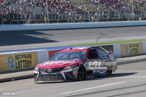 Ryan Sieg driver of the Dr Pepper Toyota enters the pits during the Monster Energy Cup Series Firekeepers Casino 400 race on June 18 2017 at Michigan...