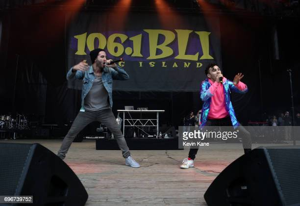 Ryan Siegel and Max Schneider perform on stage during the 2017 BLI Summer Jam at Nikon at Jones Beach Theater on June 16 2017 in Wantagh New York