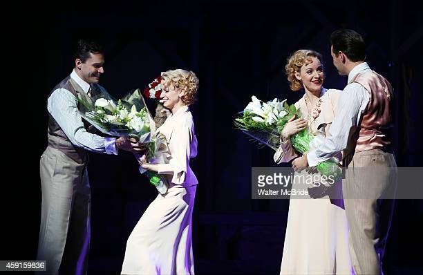 Ryan Silverman Emily Padgett Erin Davie and Matthew Hydzik during the Broadway Opening Night Curtain Call for 'Side Show' at the St James Theatre on...