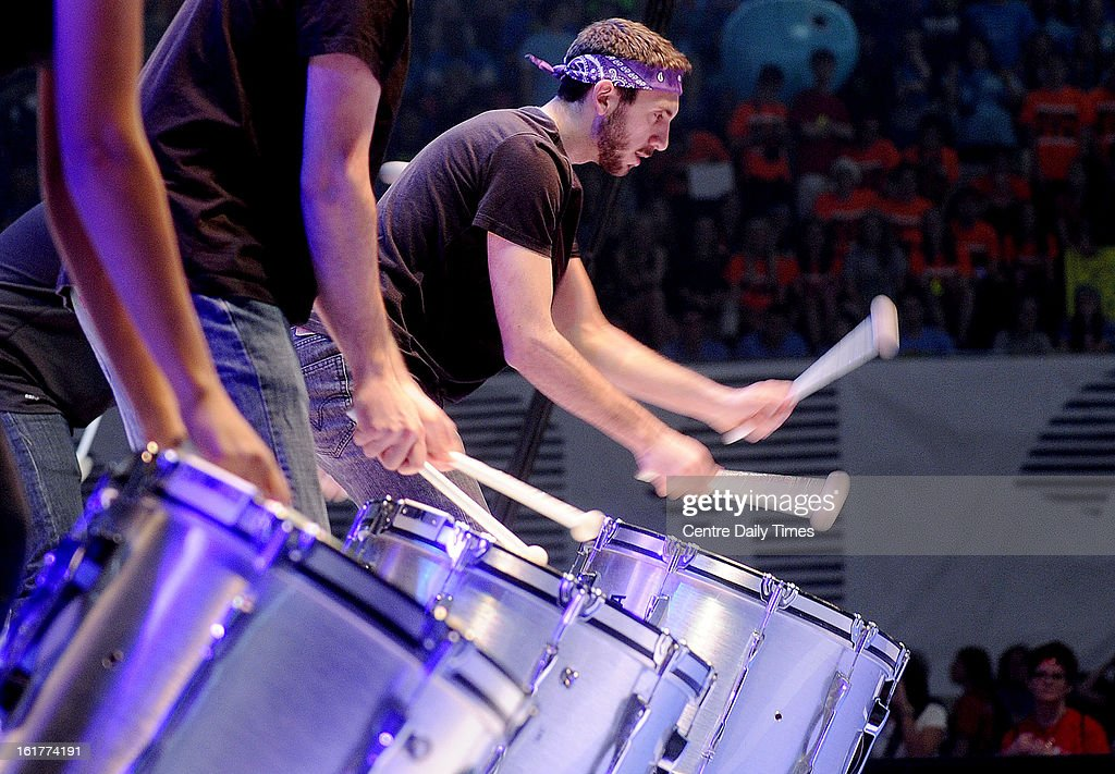 Ryan Simpson and members of the Penn State Blue Band drum line entertain the Bryce Jordan Center before the start the Penn State IFC/Panhellenic Dance Marathon on Friday, February 15, 2013, in University Park, Pennsylvania. Dancers started Friday and will continue for 46 hours. The event, known as Thon, raises money to help families that are battling pediatric cancer. Last year's event raised $10 million.
