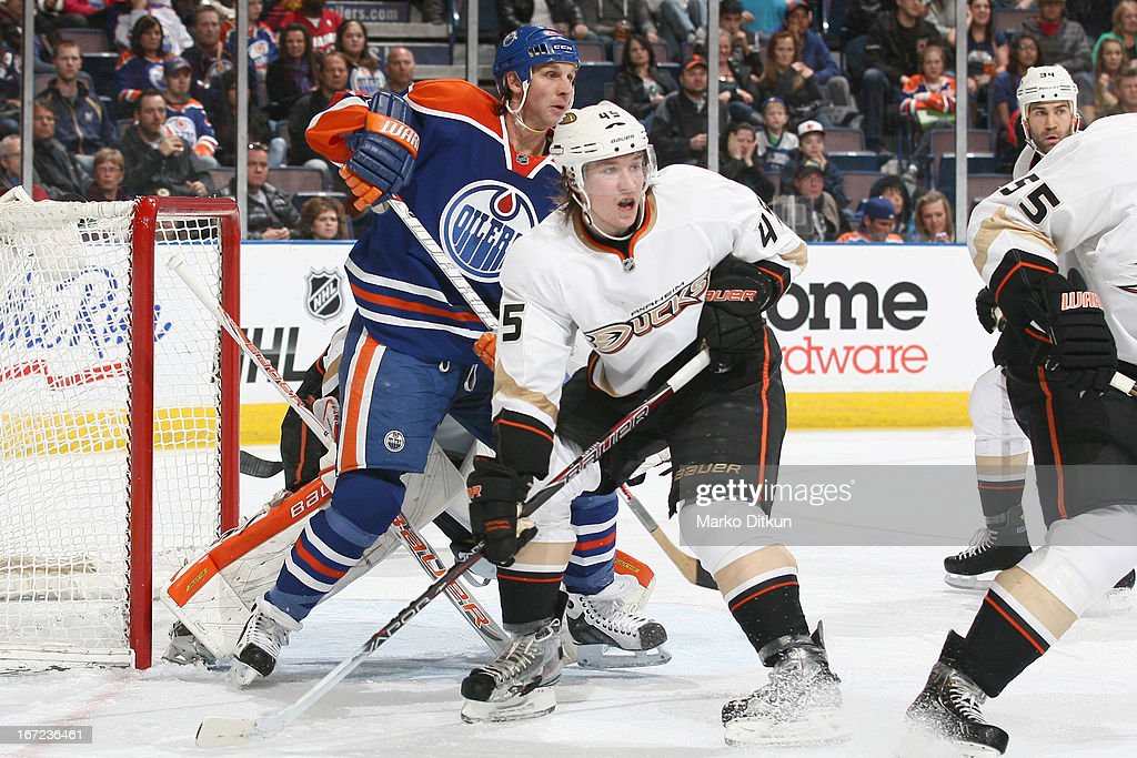 <a gi-track='captionPersonalityLinkClicked' href=/galleries/search?phrase=Ryan+Smyth+-+Ice+Hockey+Player&family=editorial&specificpeople=202567 ng-click='$event.stopPropagation()'>Ryan Smyth</a> #94 of the Edmonton Oilers battles for position in front of the net against <a gi-track='captionPersonalityLinkClicked' href=/galleries/search?phrase=Sami+Vatanen&family=editorial&specificpeople=5894626 ng-click='$event.stopPropagation()'>Sami Vatanen</a> #45 of the Anaheim Ducks on April 22, 2013 at Rexall Place in Edmonton, Alberta, Canada.