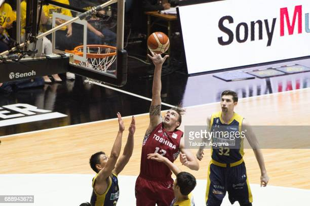 Ryan Spangler of the Kawasaki Brave Thunders lays the ball up during the B League final match between Kawasaki Brave Thunders and Tochigi Brex at...
