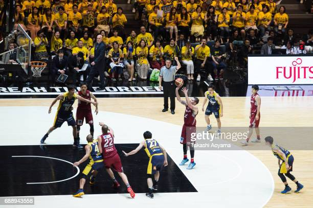Ryan Spangler of the Kawasaki Brave Thunders shoots a free throw during the B League final match between Kawasaki Brave Thunders and Tochigi Brex at...