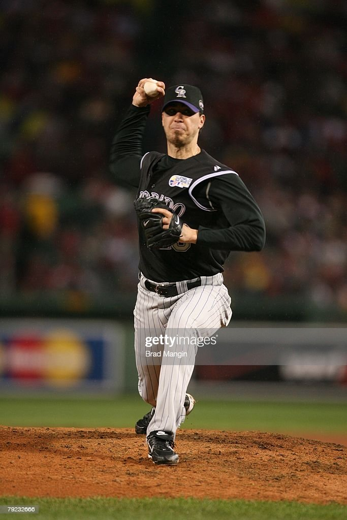 Ryan Speier of the Colorado Rockies pitches during game one of the World Series against the Boston Red Sox at Fenway Park in Boston, Massachusetts on October 24, 2007. The Red Sox defeated the Rockies 13-1.