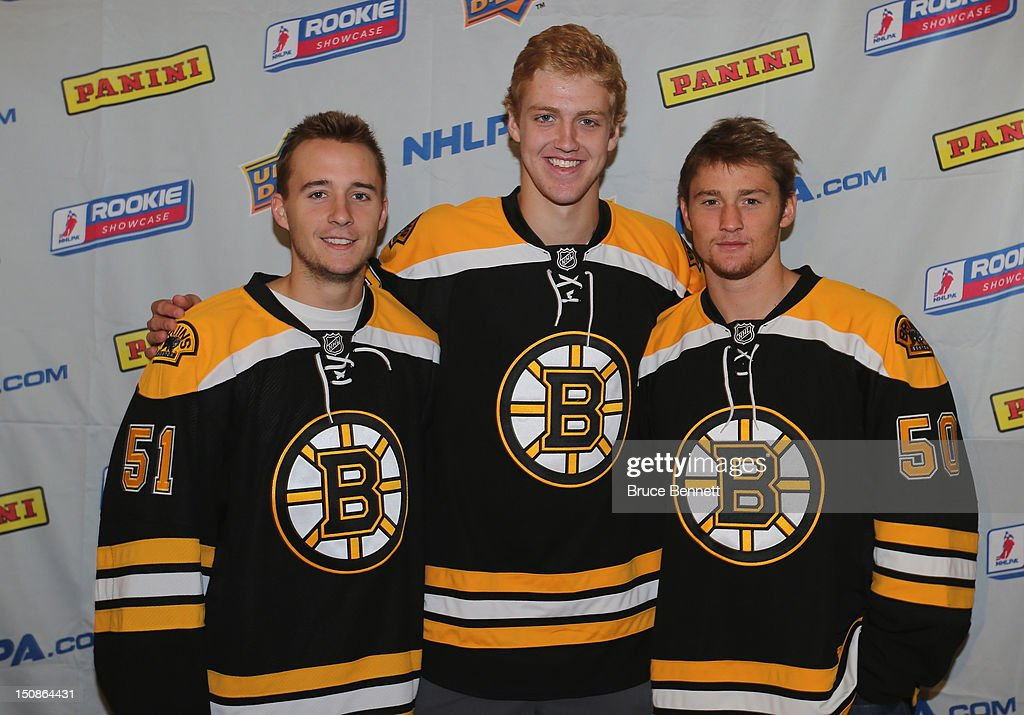Ryan Spooner, Dougie Hamilton and Jared Knight of the Boston Bruins meet with the media at the 2012 NHLPA rookie showcase at the MasterCard Centre on August 28, 2012 in Toronto, Canada.