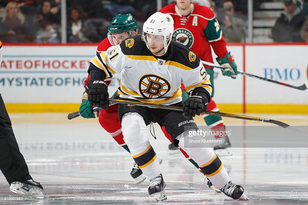 <a gi-track='captionPersonalityLinkClicked' href=/galleries/search?phrase=Ryan+Spooner&family=editorial&specificpeople=5617370 ng-click='$event.stopPropagation()'>Ryan Spooner</a> #51 of the Boston Bruins and <a gi-track='captionPersonalityLinkClicked' href=/galleries/search?phrase=Mikko+Koivu&family=editorial&specificpeople=584987 ng-click='$event.stopPropagation()'>Mikko Koivu</a> #9 of the Minnesota Wild skate to the puck during the game on February 13, 2016 at the Xcel Energy Center in St. Paul, Minnesota.