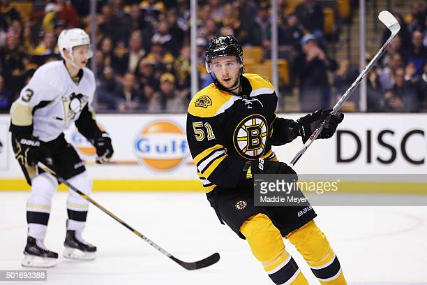 Ryan Spooner of the Boston Bruins reacts after scoring a goal against the Pittsburgh Penguins during the third period at TD Garden on December 16...
