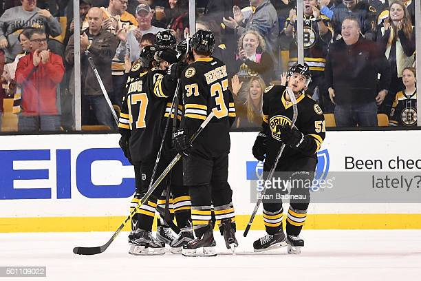 Ryan Spooner of the Boston Bruins scores a goal against the Florida Panthers at the TD Garden on December 12 2015 in Boston Massachusetts