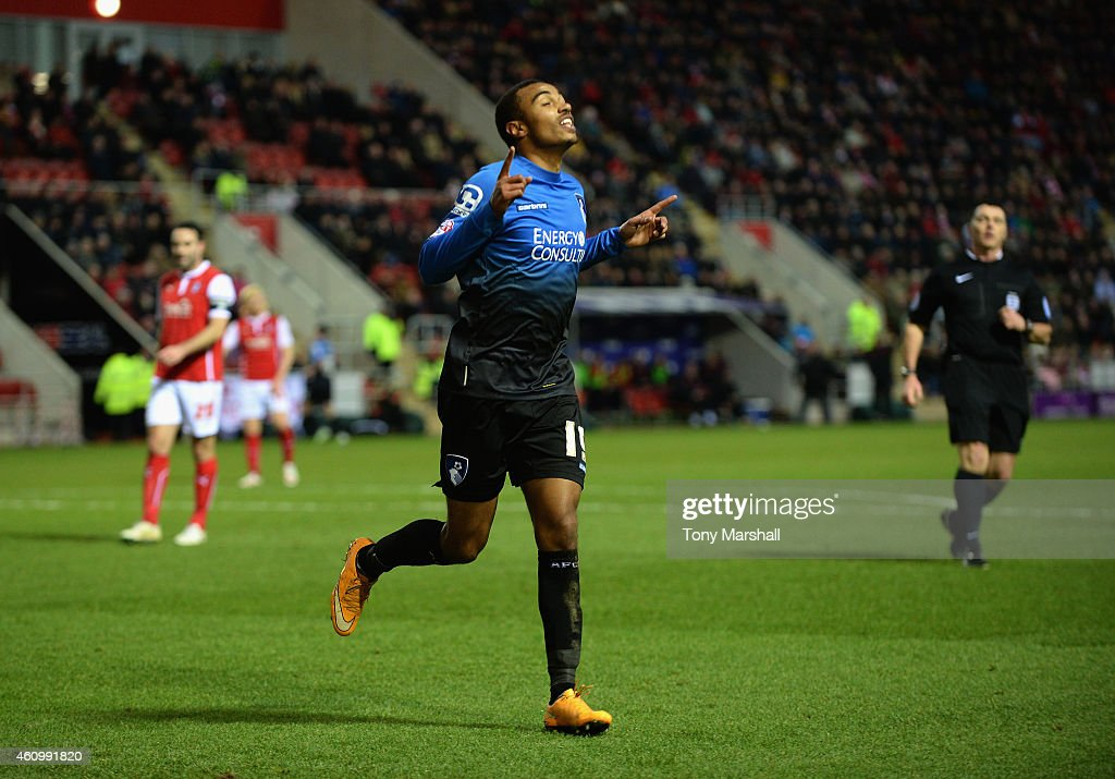 Ryan Stanislas of Bournemouth celebrates after scoring their second goal during the FA Cup Third Round match between Rotherham United and Bournemouth at The New York Stadium on January 3, 2015 in Rotherham, England.