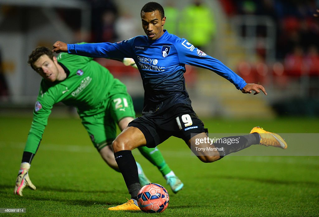 Ryan Stanislas of Bournemouth scores their second goal during the FA Cup Third Round match between Rotherham United and Bournemouth at The New York Stadium on January 3, 2015 in Rotherham, England.