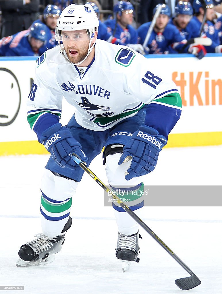 Ryan Stanton of the Vancouver Canucks skates against the New York Rangers at Madison Square Garden on February 19 2015 in New York City The Vancouver...