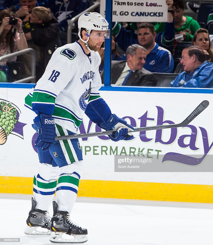 Ryan Stanton of the Vancouver Canucks skates against the Tampa Bay Lightning at the Tampa Bay Times Forum on March 17 2014 in Tampa Florida