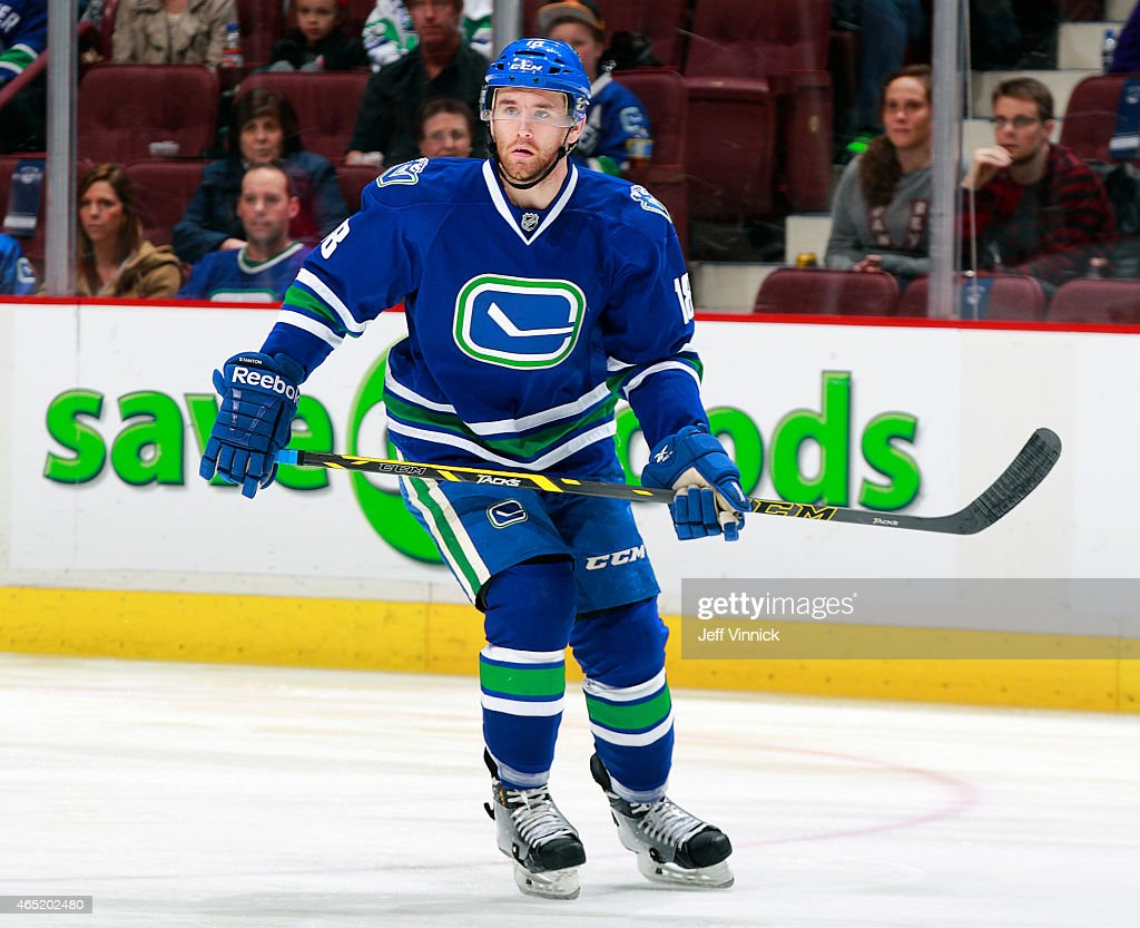 Ryan Stanton of the Vancouver Canucks skates up ice during their NHL game against the St Louis Blues at Rogers Arena March 1 2015 in Vancouver...