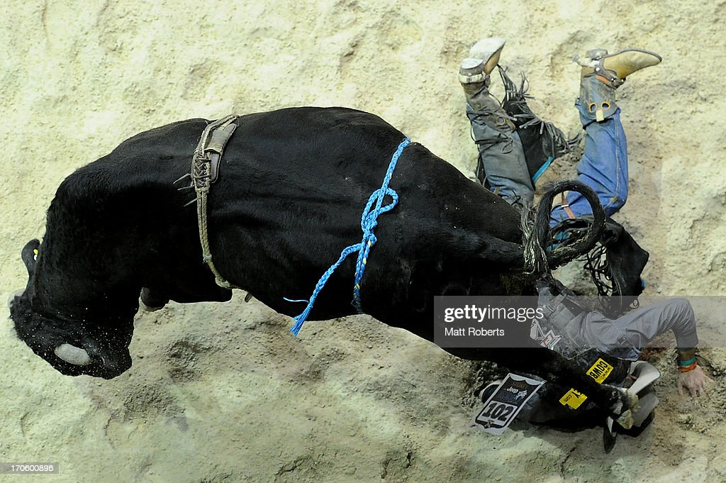 Ryan Storey of Dingo competes in the Bull Ride during the National Rodeo Finals on June 15, 2013 on the Gold Coast, Australia.