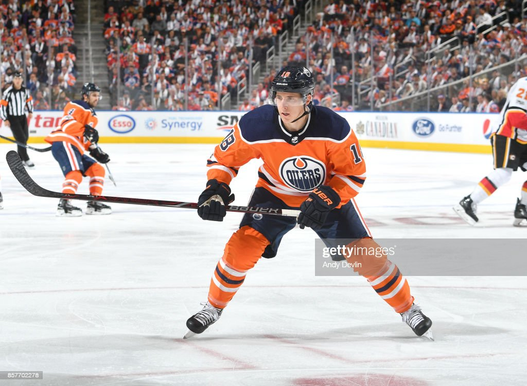 Ryan Strome #18 of the Edmonton Oilers skates during the game against the Calgary Flames on October 4, 2017 at Rogers Place in Edmonton, Alberta, Canada.
