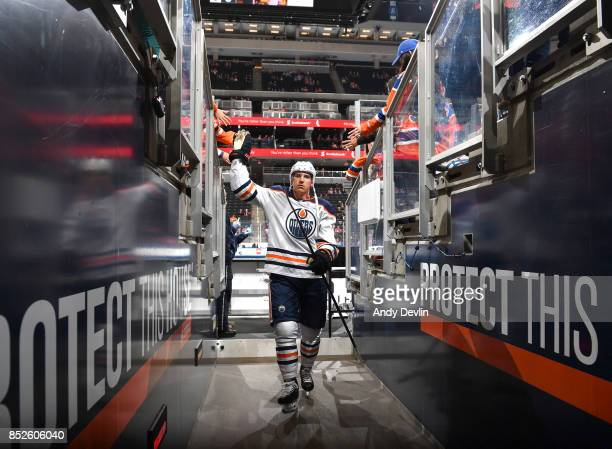 Ryan Strome of the Edmonton Oilers walks to the dressing room prior to the preseason game against the Winnipeg Jets on September 23 2017 at Rogers...