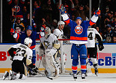 Ryan Strome of the New York Islanders celebrates a second period goal against the Pittsburgh Penguins at Nassau Veterans Memorial Coliseum on January...
