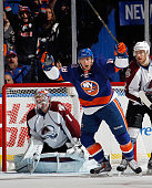 Ryan Strome of the New York Islanders celebrates his goal at 801 of the third period against Semyon Varlamov of the Colorado Avalanche at the Nassau...